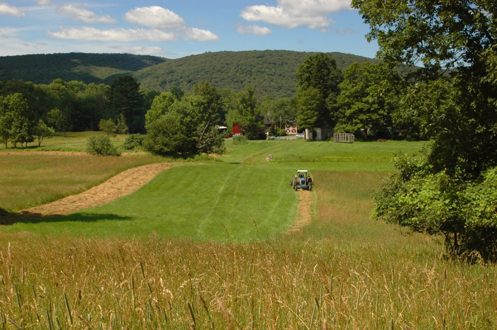 Mowing hay on the Dunn family farm on Green River Road
