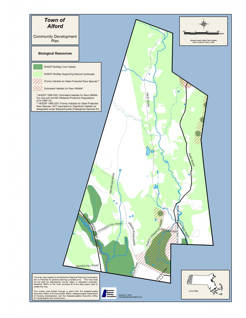 Community Development Plan map of Alford's biological resources